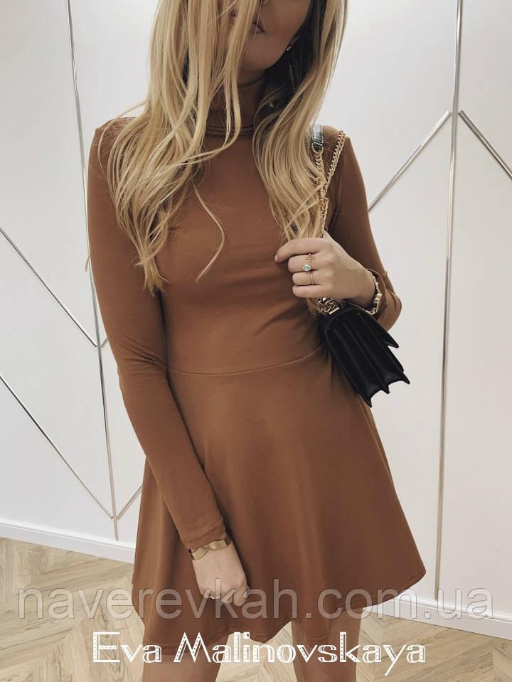 Женское платье трикотаж черный кэмел марсала S M