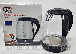 Скляний Чайник електрочайник Promotec PM-810 з підсвічуванням 2200W 1.7 L