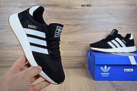 Мужские кроссовки в стиле Adidas INIKI черные с белым, фото 1