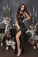 Женское длинное платье пайетка велюр черный золото синий зеленый 42 44 46, фото 1