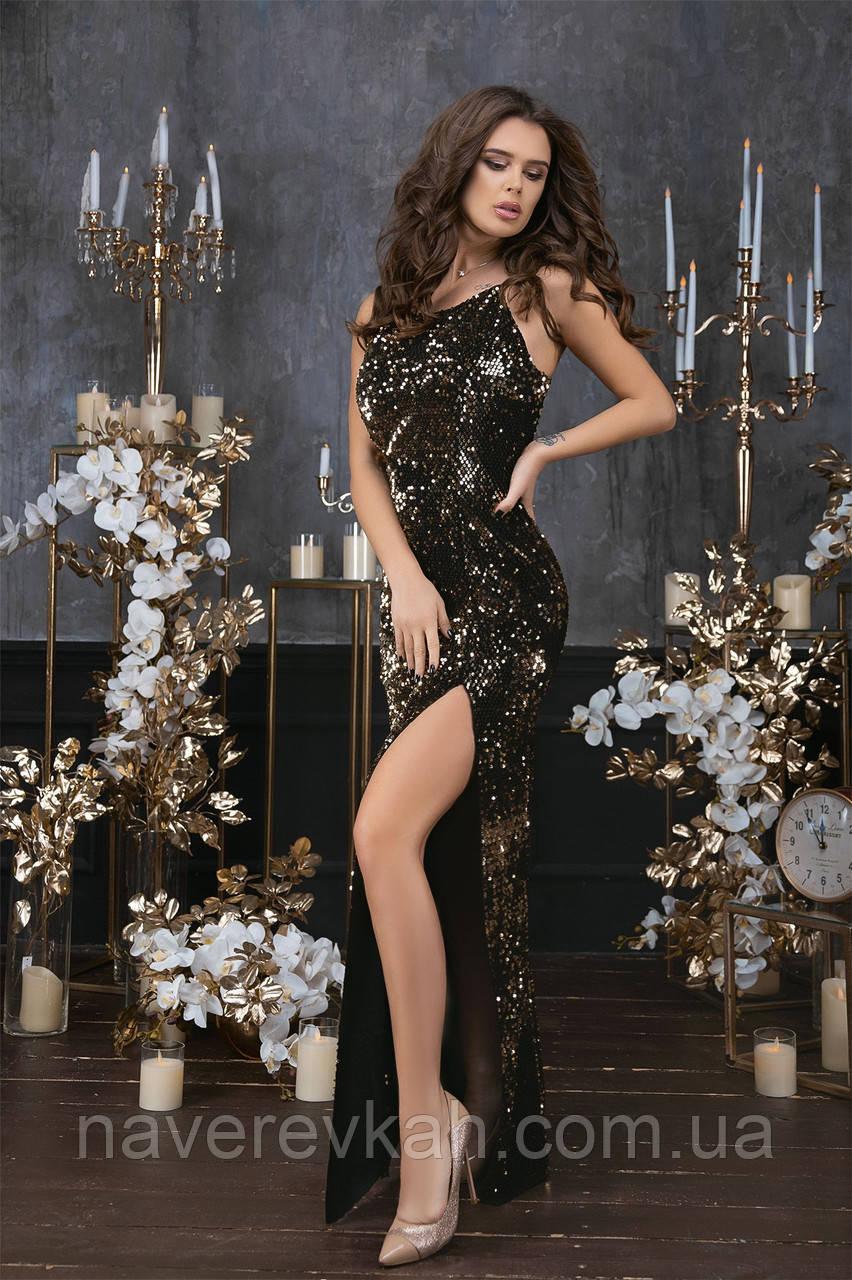 Женское длинное платье пайетка велюр черный золото синий зеленый 42 44 46