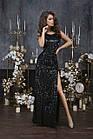 Женское длинное платье пайетка велюр черный золото синий зеленый 42 44 46, фото 2