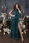 Женское длинное платье пайетка велюр черный золото синий зеленый 42 44 46, фото 4
