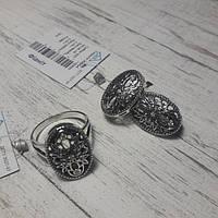 Комплект серебряный - кольцо с серьгами, р18