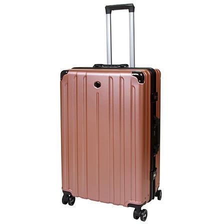Чемодан большой пластик ABS розовый OUPAI алюминиевый каркас   кс1106-1розб, фото 2