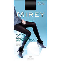 Теплые непрозрачные колготки Mirey WINTERCOTTON 250 ден с большим составом  хлопка №2 S  чёрные  ЛЖЗ-120464