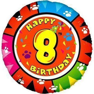 Фольговані кулі великі фігури / 18 Happy Birthday цифра 8 (fm)