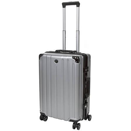 Чемодан малый серый OUPAI 40х62х24 пластик ABS алюминиевый каркас  кс1106-1серм, фото 2