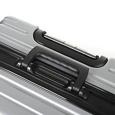 Чемодан малый серый OUPAI 40х62х24 пластик ABS алюминиевый каркас  кс1106-1серм, фото 3