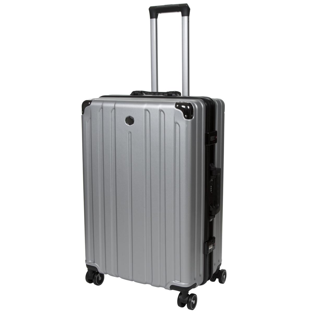 Валіза OUPAI великий сірий пластик ABS алюмінієвий каркас кс1106-1серб