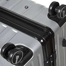 Чемодан OUPAI большой серый пластик ABS алюминиевый каркас   кс1106-1серб, фото 2