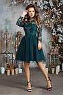 Женское платье габардин гипюр пайетка сетка синий черный бежевый изумрудный розовый 42 44 46, фото 2