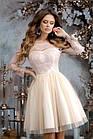 Женское платье габардин гипюр пайетка сетка синий черный бежевый изумрудный розовый 42 44 46, фото 4