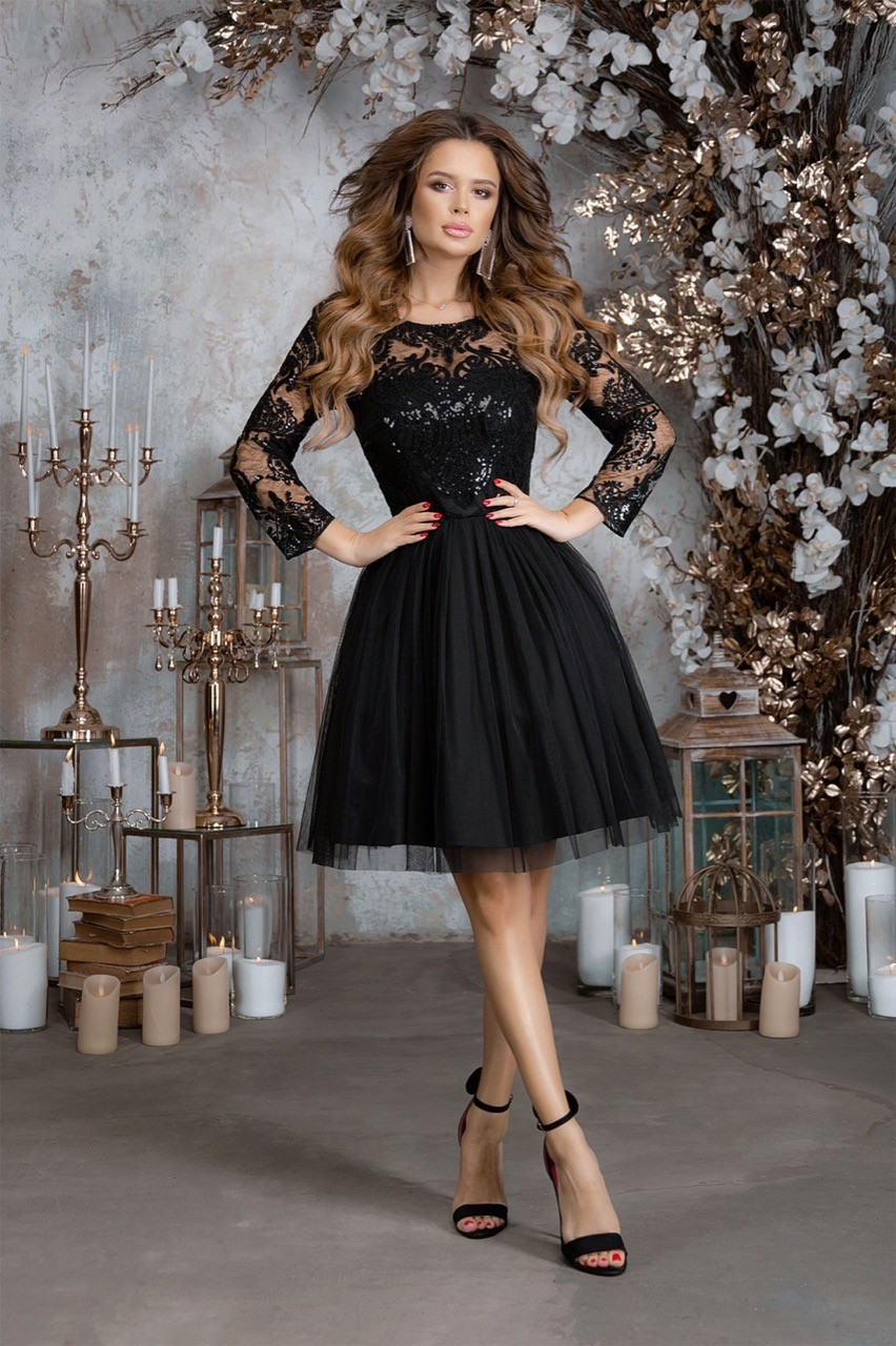 Женское платье габардин гипюр пайетка сетка синий черный бежевый изумрудный розовый 42 44 46