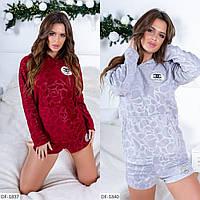 Пижама женская, мягкая приятная теплая, кофта с капюшоном и карманом+ шортики, модная, красивая, до 48 р-ра, фото 1