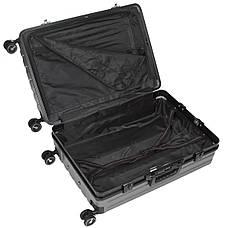 Валіза малий OUPAI темно-сірий 40х62х24 пластик ABS алюмінієвий каркас кс1106-1тсерм, фото 2