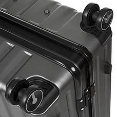 Валіза малий OUPAI темно-сірий 40х62х24 пластик ABS алюмінієвий каркас кс1106-1тсерм, фото 3