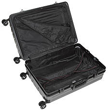 Чемодан большой тёмно-серый OUPAI 46х72х29 пластик ABS алюминиевый каркас  кс1106-1тсерб, фото 3