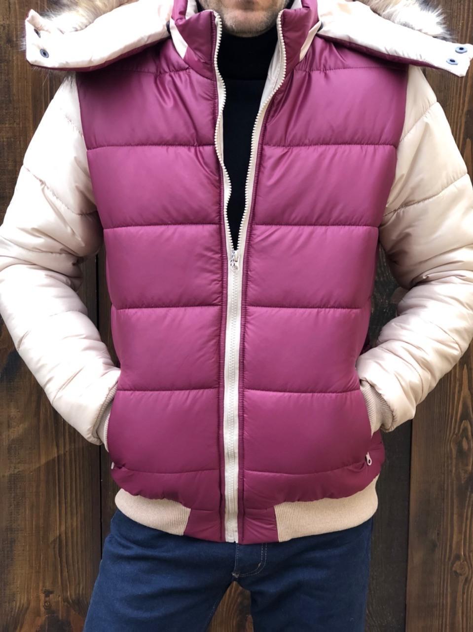 Куртка мужская короткая из плащевки на селиконе со съемным капюшоном (К29427)