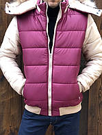 Куртка мужская короткая из плащевки на селиконе со съемным капюшоном (К29427), фото 1