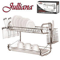 Сушка для посуды Stenson MH-0068o облегченная, хром, 55 см, два уровня, с поддоном, полка для посуды, полочка для посуды, стойка для посуды