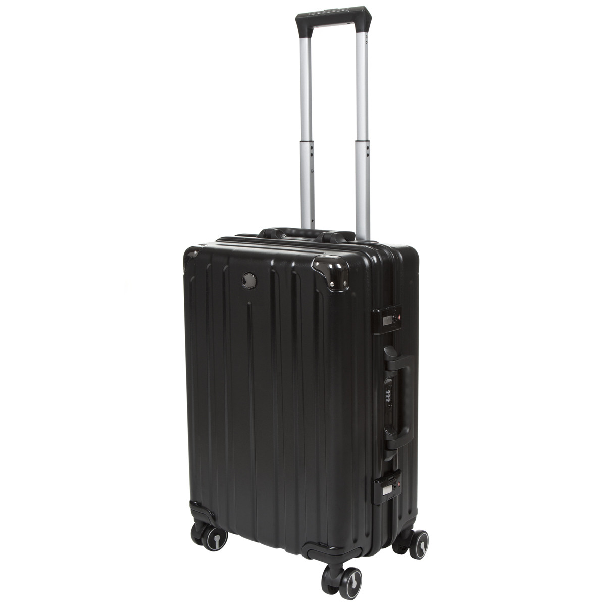 Чемодан OUPAI малый чёрный пластик ABS алюминиевый каркас 40х62х24    кс1106-1чм