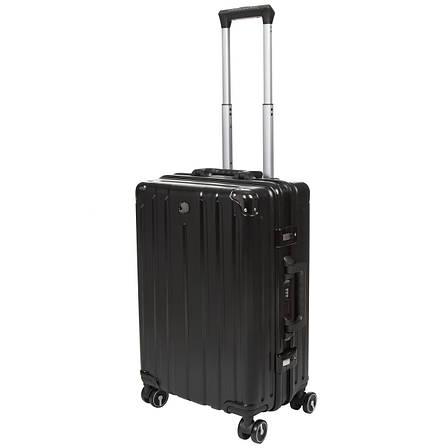 Чемодан OUPAI малый чёрный пластик ABS алюминиевый каркас 40х62х24    кс1106-1чм, фото 2