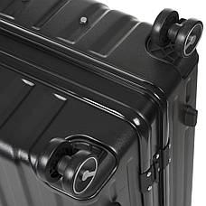 Чемодан OUPAI малый чёрный пластик ABS алюминиевый каркас 40х62х24    кс1106-1чм, фото 3