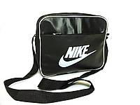 Спортивная сумка планшет Nike Найк через плечо Кожа Черная с белым принтом