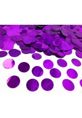 Конфетти кружочки фиолетовый металлик  23 мм, вес :25 гр