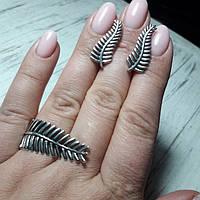 Комплект серебряный, папоротник