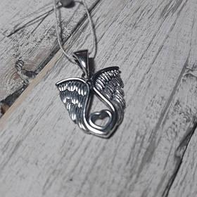 Серебряный подвес Крылышки с сердечком
