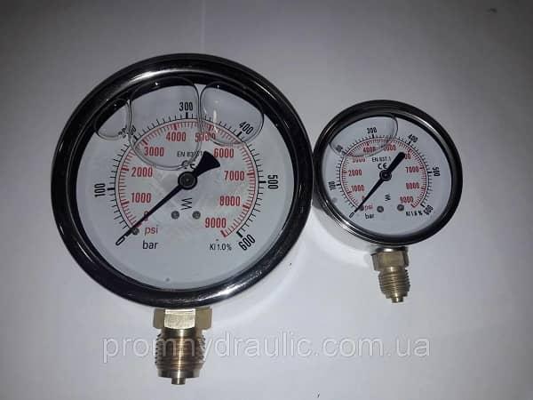 Манометр радиальниый 100мм 16бар 1,6МПа, гидравлический, глицеринонаполненый, глицериновый.
