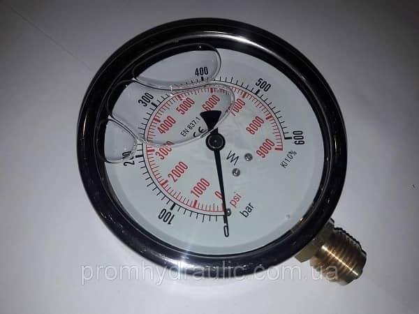 Манометр радиальниый 100мм 60бар 6МПа, гидравлический, глицеринонаполненый, глицериновый.