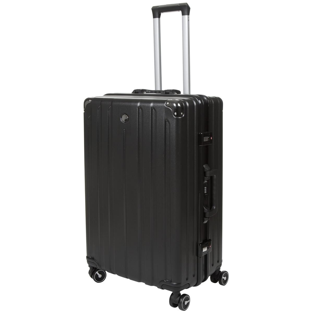Чемодан большой алюминиевый каркас чёрный OUPAI 46х72х29 пластик ABS   кс1106-1чб