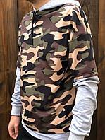 Батник мужской из трикотажа с капюшоном с камуфляжным принтом (К29428), фото 1