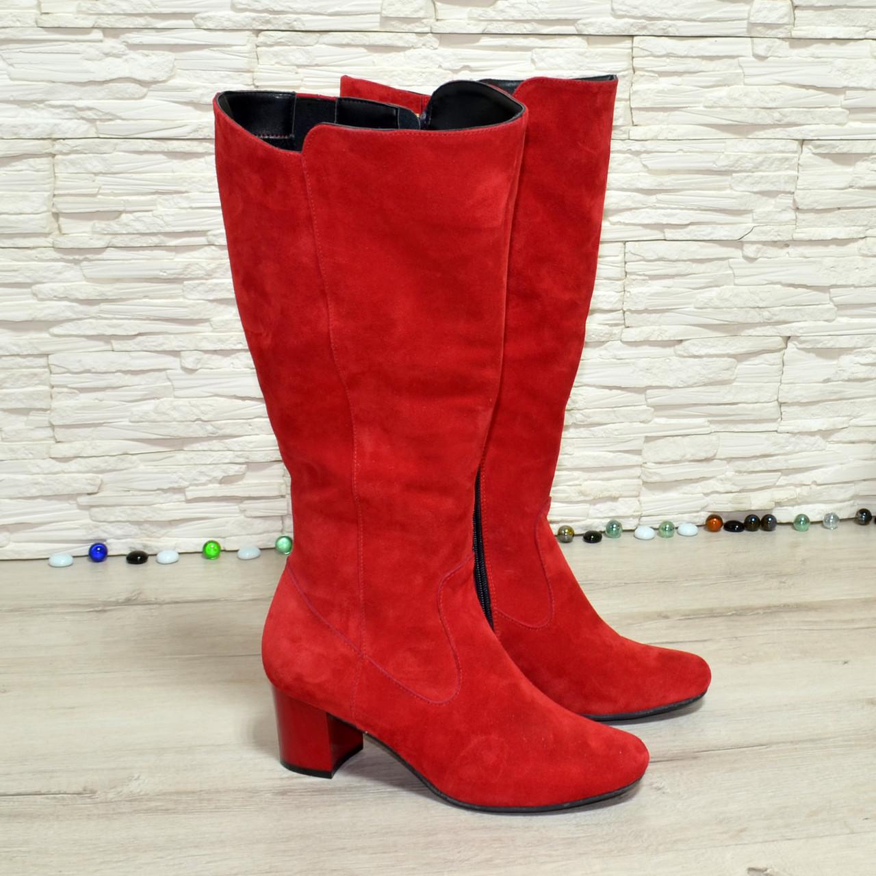 Сапоги женские замшевые на невысоком каблуке, цвет красный