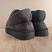 Короткие угги как тапочки автоледи слипоны меховые низкие дутики не промокающие зимние теплые черные серые, фото 2
