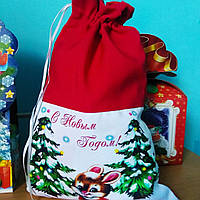 Мешочек новогодний габардин Дед Мороз на санях, фото 1