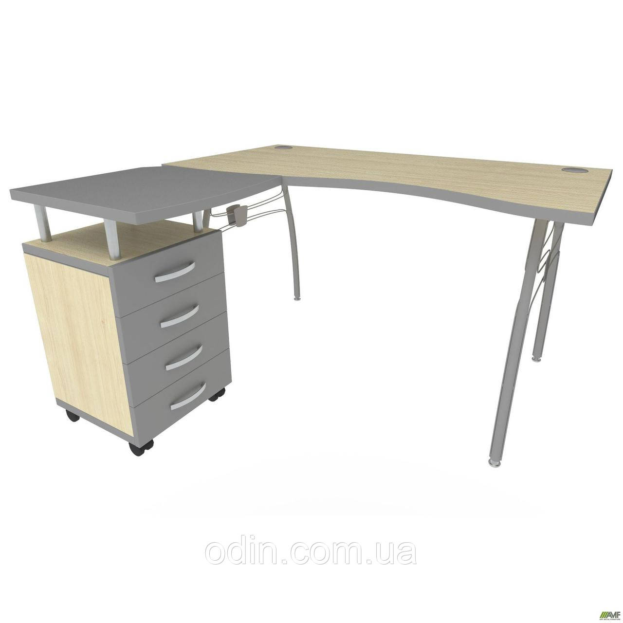 Стол с тумбой М435 АртМобил (1400х740/1420х760мм) клен/кромка серый металлик/металлический каркас. 140181
