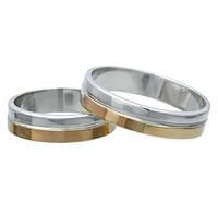 (Пара) Серебряные обручальные кольца с золотыми пластинами.