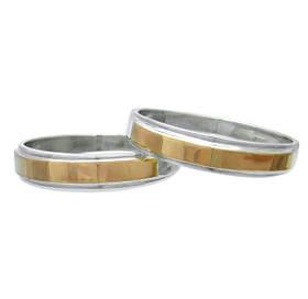 """(Пара) Серебряные обручальные кольца с золотыми вставками """"Богема"""""""
