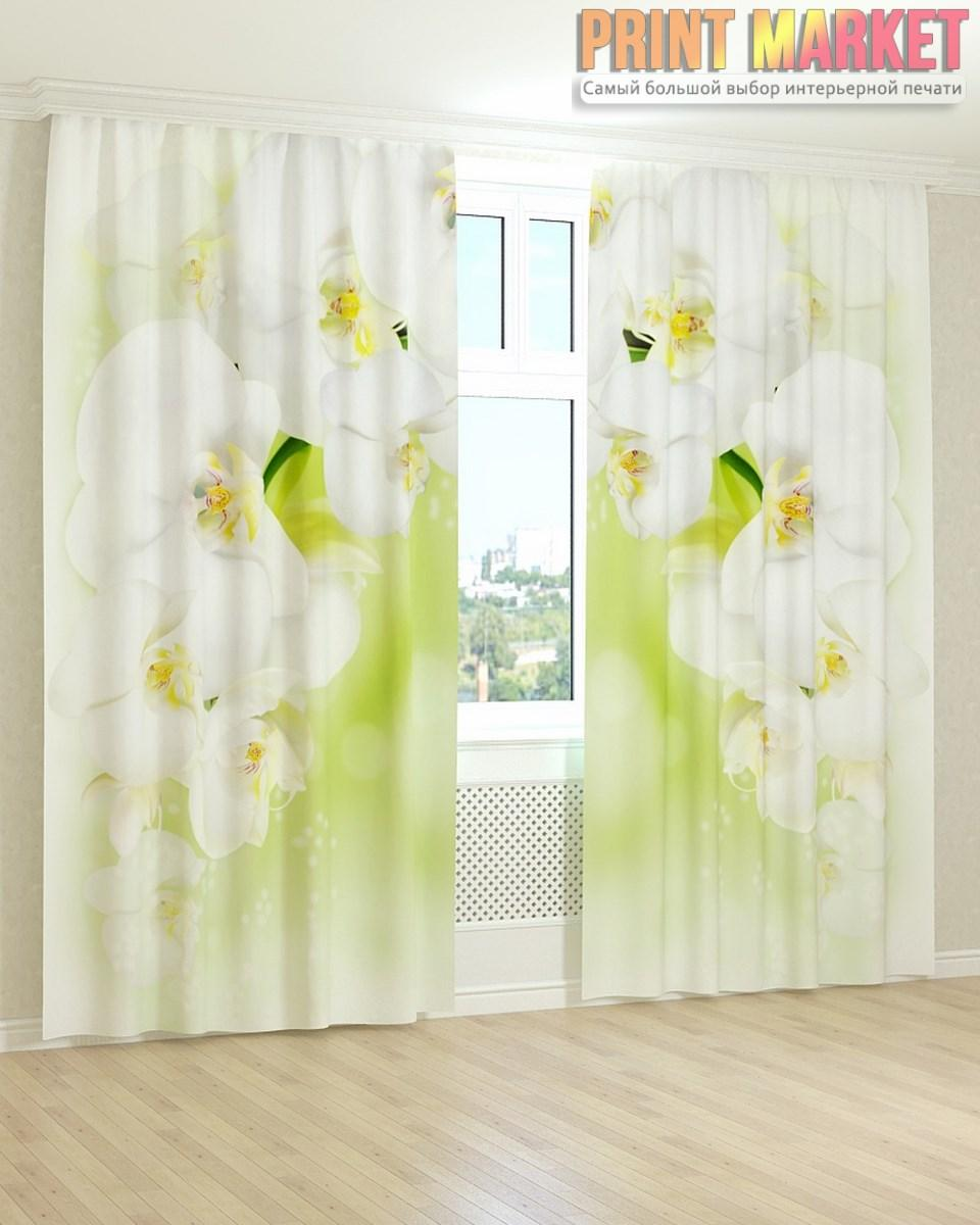 Фотошторы 3д нежно зеленая орхидея