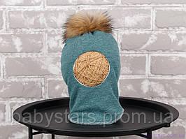 Шапка шлем с бубоном из чернобурки, изумруд