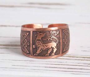Этническое медное кольцо с орнаментом Чудо-зверь