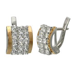 """Серебряные серьги с золотыми накладками """"Звездное мерцание"""""""