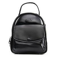 Женский рюкзак -сумка кожаный 20*23*12 черный, фото 1