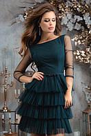Женское платье костюмная ткань сетка черный бутылка капучино розовый 42 44 46, фото 1