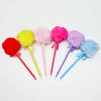 """Ручка шариковая для письма """"Pen"""" с мехом и бантиком, синяя, пластик, ручки, ручки шариковые, наборы ручек, ручки для письма"""