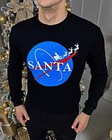 Мужской зимний свитшот с флисом рисунок Santa черный